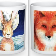 Hare & fox mug set