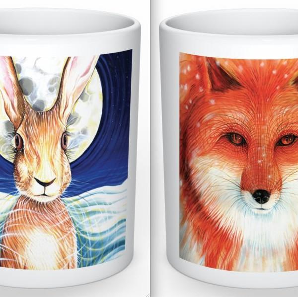 Hare & fox mug set