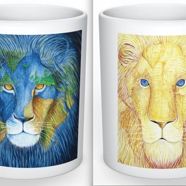 Lion mug front an dback