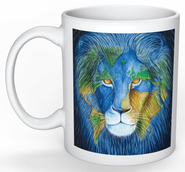 lion mug blue