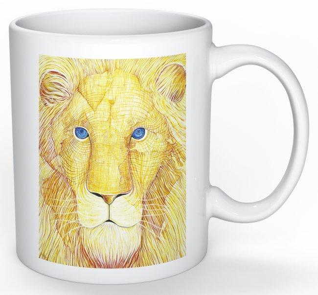 yellow lion mug back