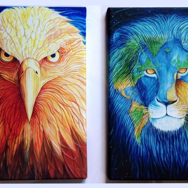 Lion and eagle