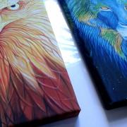 Lion and eagle close up